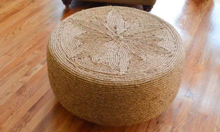 mesa centro forrada cuerdas neumático usada